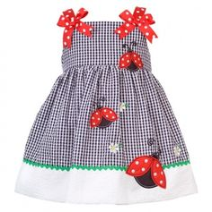 Infant Checkered Seersucker Dress with Ladybug Applique