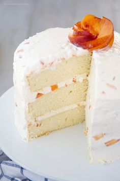 Vanilla Peach Layer Cake is a perfect dessert for summer. Tender, moist cake is layered with a sweet peaches and cream frosting, with chunks of fresh peaches. Summer Desserts, Just Desserts, Delicious Desserts, Dessert Recipes, Food Bakery, Peach Cake, Peach Layer Cake Recipe, Moist Cakes, Moist Cake Recipes