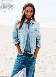 6 beach-ready denim looks featuring Jourdan Dunn for Miss Vogue #Editorials // Love the hair accessory...cute for Coachella!