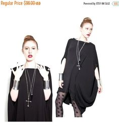 New to BabooshkaBoutique on Etsy: 25% SALE - BABOOSHKA Discoid Dress Modern Geometry Cape Dress Tunic Shirt (72.00 USD)