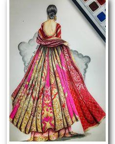 Indian Bride Dresses, Pakistani Bridal Dresses, Indian Fashion Dresses, Ethnic Fashion, 80s Fashion, Indian Outfits, Fashion Art, Dress Illustration, Fashion Illustration Dresses