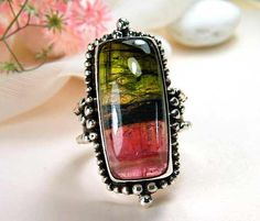 Watermelon tourmaline set in sterling silve