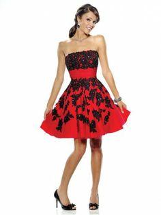 Taffeta Strapless A-Line Skirt Beaded Cocktail Dress