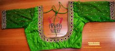 Beautiful parrot green designer blouse with hand embroidery thread work. 16 July 2017