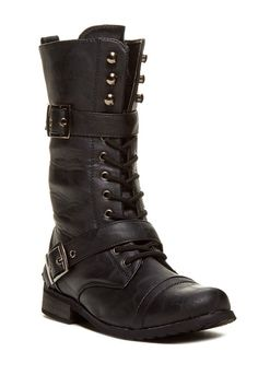 Collection by Carrini Buckle Strap Combat Boot by Bucco on @HauteLook