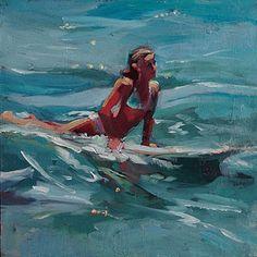 """Leading Edge"" - Original Fine Art for Sale - © Robin Cheers Seascape Paintings, Art Paintings, Mermaid Paintings, Hawaiian Art, Surf Art, Coastal Art, Ocean Art, Beach Art, Portrait Art"