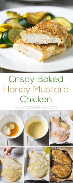 5 stars- Crispy oven baked honey mustard chicken - chicken breasts smothered in honey mustard sauce, topped with panko bread crumbs, and baked in the oven until golden and crispy. The easiest 30 minute chicken dinner! Breaded Chicken Recipes, Baked Chicken Breast, Chicken Breasts, Bread Crumb Chicken Baked, Breaded Chicken In Oven, Honey Mustard Chicken Baked, Honey Mustard Sauce, Chicken With Panko, Lemon Chicken