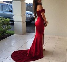 Image of Sexy Mermaid Off Shoulder Dark Red Prom Gowns, Evening Gowns