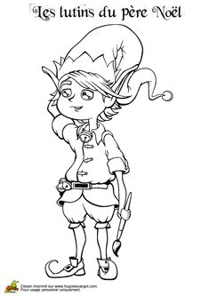 Coloriage lutin peintre sur Hugolescargot.com - Hugolescargot.com