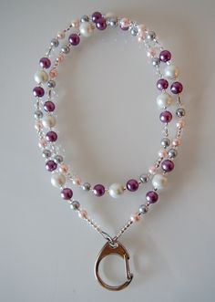 Cute necklace for keys   http://jadeit.fi/tuote/vaaleanpuna-violetti-avainnauha/