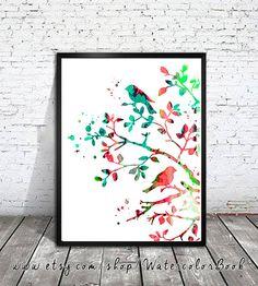 Birds Watercolor Print, Archival Fine Art Print, Children's Wall Art, Home Decor, animal watercolor, watercolor painting,bird art, art print