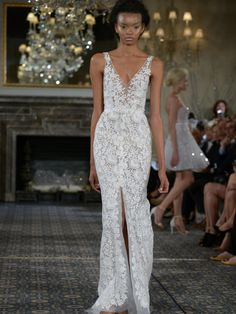Mira Zwillinger lace wedding dress with v-neckline and slit from Spring 2016