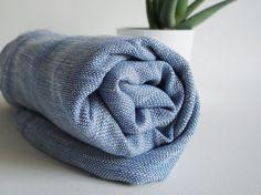 Turkish BATH Towel Handwoven Peshtemal  LINEN  Denim by bathstyle, $38.50