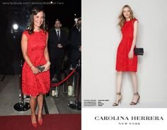 Pippa was wearing a Carolina Herrera dress from the Fall-Winter collection. Pippa And James, Pippa Middleton Style, Carolina Herrera Dresses, Royal Style, Love Her Style, Royal Fashion, Royals, Red Carpet, Fall Winter