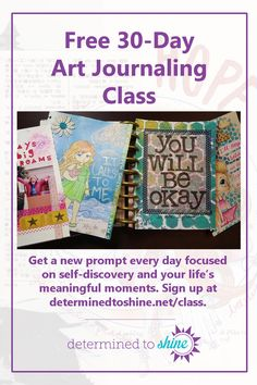 Free art journaling class with daily prompts and ideas for pages and projects. Prompts are focused on self-discovery, emotional healing, and celebrating your life's meaningful moments. Participants can also join the class community Facebook group to connect and share with other students.