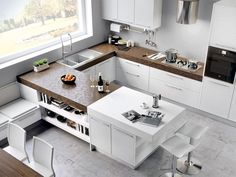 Lacquered wooden fitted kitchen Adele Project Collection by Cucine Lube