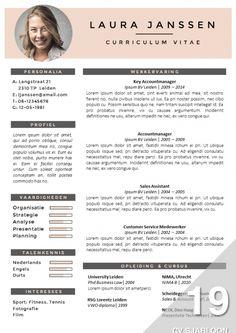 Onderscheidend CV template. Zelf te bewerken in MS Office. Inclusief sollicitatiebrief sjabloon. Direct downloadbaar via http://deleydsche.nl/product/cv-sjabloon-19