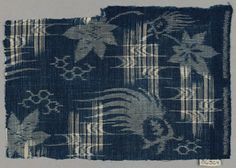 Fragment of cotton ikat (double kasuri). It is blue with maple leaf and other natural motifs. | Japan (late Edo or early Meiji era/19th century) | Museum of Fine Arts, Boston