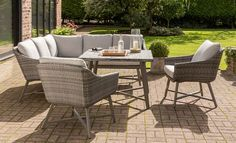 Buy KETTLER LaMode Garden Lounging Corner Table and Chairs Set, Grey from our Garden Furniture Sets range at John Lewis & Partners. Corner Sofa Dining Set, Corner Sofa With Cushions, Corner Table, Kettler Garden Furniture, Pallet Garden Furniture, Outdoor Furniture Sets, Garden Dining Set, Outdoor Spaces, Outdoor Decor