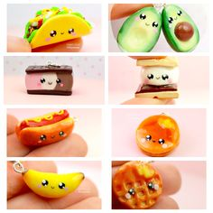 Mini Food Kawaii Charms Miniature Food Jewelry Polymer Clay Jewelry Handmade by Sweet Clay Creations Taco Avocados S'mores Hot Dog Pancakes Banana Waffle Ice Cream Sandwich