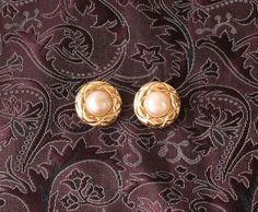 Chanel vintage pearl clip on earrings Gold Authentic by hfvin on Etsy  #chanel #pearl #earrings #gold #vintage #hfvin