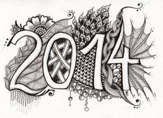 """No 14 I am the diva challenge # 149 - """"Twenty-Fourteen"""" The first zentangle in the new year 2014 and a new one in really a while. I'm so happy I found some time to tangle again. :)"""