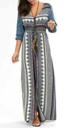 Empire Waist Button Down Bohemian Maxi Dress