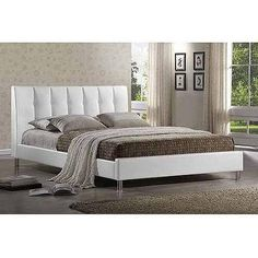 Baxton Studio Vino Queen Modern Bed with Upholstered Headboard, White