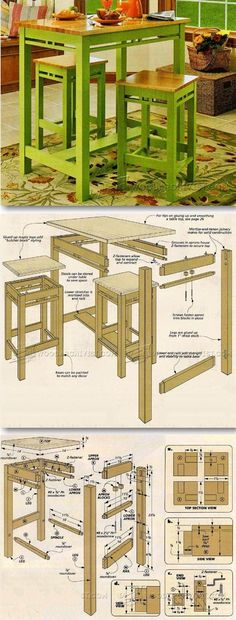 Tall Kitchen Table Plans - Furniture Plans and Projects | http://WoodArchivist.com