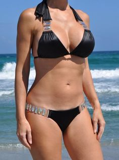Beach Bunny Swimwear Bikini BLack Shooting Stars Crystals, L Top, S Bottom #BeachBunny #Bikini