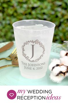 Keep guests hydrated and provide an elegant, reusable keepsake favor with these custom printed cups. The perfect cup size for serving beer, soft drinks, soda, punch, iced tea or lemonade at your wedding reception and our most popular cup size, 16 ounce reusable frosted plastic cups will take your wedding reception bar and drink stations to the next level. Wedding Plastic Cups, Wedding Cups, Wedding Favors, Wedding Reception, Wedding Gifts, Wedding Ideas, Monogram Cups, Monogram Wreath, Small Thank You Gift