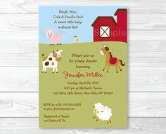 Farm Animal Baby Shower Invitation by LittlePrintsParties on Etsy, $13.00