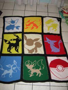 Eeveelution Knitted Quilt by AnOwlatNoon on DeviantArt Pokemon Go, Pokemon Craft, Loom Knitting, Knitting Patterns, Crochet Patterns, Pokemon Blanket, Crochet Pokemon, Knitted Baby Blankets, Applique Quilts