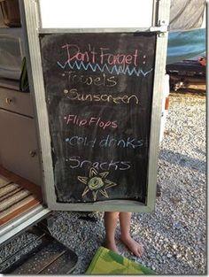 Pop up camper chalkboard door