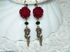 Red Rose Earrings. Rose Jewelry. Art Nouveau. by judysmithdesigns, $18.00