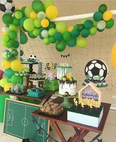 Football Theme Birthday, Sports Themed Birthday Party, Safari Theme Party, Soccer Party, Soccer Theme, Birthday Boys, Green Party Decorations, Jungle Theme Decorations, Hawaiian Party Decorations