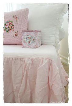 pink pillow, tin and ruffle