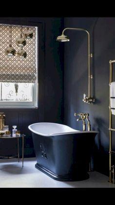 Home Decor Inspiration : Charcoal grey bathroom with free-standing bath; modern bathroom design at allabo Dark Bathrooms, Beautiful Bathrooms, Marble Bathrooms, Gold Bathroom, Master Bathrooms, Bathroom Mirrors, Bathroom Cabinets, Luxury Bathrooms, Modern Bathrooms