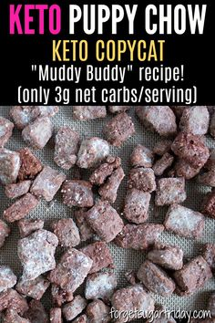 Keto Puppy Chow - almond flour unsweetened macaroon coconut/coconut shreds stevia coconut oil vanilla extract eggs puppy chow part (might omit but contains: cacao chocolate chips stevia vanilla extract unsweetened unsalted peanut butter but Brownie Desserts, Oreo Dessert, Mini Desserts, Coconut Dessert, Coconut Macaroons, Easy Keto Dessert, Low Carb Sweets, Low Carb Desserts, Low Carb Recipes