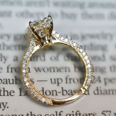 Micro Pave Diamond Engagement Ring Setting With Edge to Edge Pave in 18Kt Yellow Gold (Cathedral)