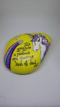 Yellow unicorn stone,unicorn painted ornament,funny quote stone,rainbow and unicorn quotes,unicorn paperweight,gifts for her. by Pebbles4Thought on Etsy