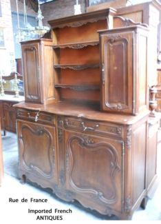 FRENCH ANTIQUE CHERRY WOOD BUFFET DISPLAY SIDEBOARD CABINET