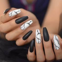 Excited to share this item from my shop: Nail Kits Mix Nails Art Tips Black White Marble Matte Cream Pink Extra Long Ballerina Faux Ongles for Party,nail art supply,stiletto nail Black Acrylic Nails, Summer Acrylic Nails, Best Acrylic Nails, Acrylic Nail Designs, Black Marble Nails, Black Coffin Nails, Matte Black Nails, Marble Nail Designs, White Stiletto Nails