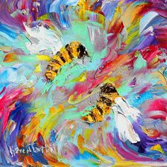 Original oil painting Spring Bees abstract by Karensfineart