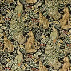 Forest Velvet by William Morris. A tapestry inspired fabric depicting a forest scene with peacocks, hares and foxes set amongst scrolling acanthus leaves. Digitally printed on black with gold, duck egg blue and natural shades of green. William Morris Wallpaper, William Morris Art, Morris Wallpapers, Textiles, Craftsman Fabric, Craftsman Style, Inchies, William Morris Patterns, Art And Craft