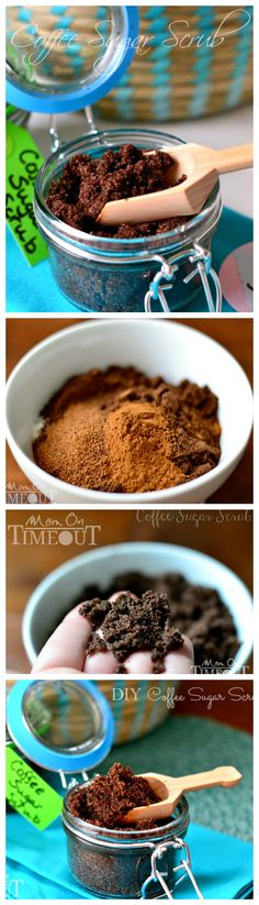 DIY Coffee Sugar Scrub | MomOnTimeout.com Make your own deliciously fragrant scrub at home!  Wonderful for exfoliation and can be made with ingredients you already have on hand! #diy #gifts