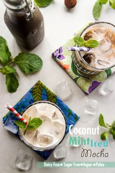 Coconut Mint Iced Mocha -- save $$, save calories, and know your coffee drink is full of nutritious ingredients. Indulgent and refreshing!