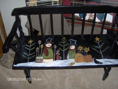 OLD FLEA MARKET BENCH PAINTED WITH MONICA BRINT SCENE ♡