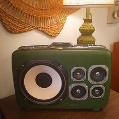 Handmade stereo by Hifi Case -  70's green vinyl vintage suitcase stereo system.