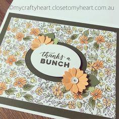 Sweetest thank you card. #ctmh #closetomyheart #mycraftheart #withlori #lebelou #handmade #heartfeltthanks #thanksabunch #flowers #cardmaking #stamping #colouring #watercolours #sequins #sparkles #bling #lovemyjob #bestever